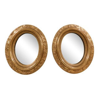 Antique Victorian Gilt Frame Oval Mirrors - a Pair For Sale