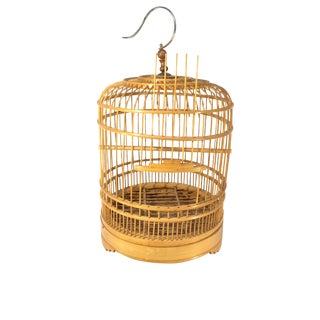 1970s Mid-Century Modern Bamboo Matchstick Pagoda Style Birdcage