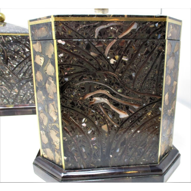 Metal Maitland-Smith Inlaid Stone With Brass Accents Boxe For Sale - Image 7 of 11