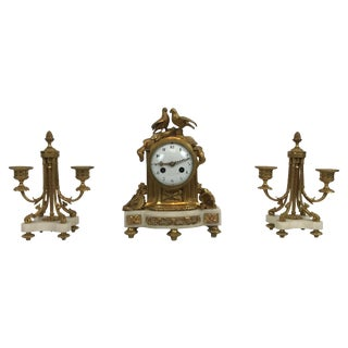 Vincenti Et Cie Diminutive Clock Set, French Marble and Ormolu, Circa 1890-1900 For Sale