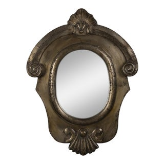 19th Century Italian Neoclassical Brushed Steel Mirror For Sale