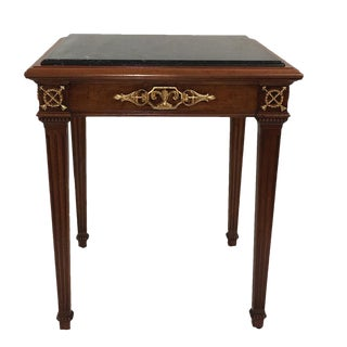 Antique Gold Finish Hardware Inset Marble Tops End Tables For Sale