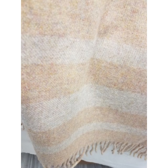 Textile Merino Wool Throw Light Salmon With Soft White Stripes - Made in England For Sale - Image 7 of 9