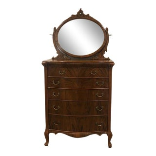 1920s Antique Walnut Tall Dresser With Mirror For Sale