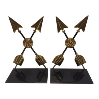 Pair of Maitland-Smith Cross Arrow Bookends For Sale