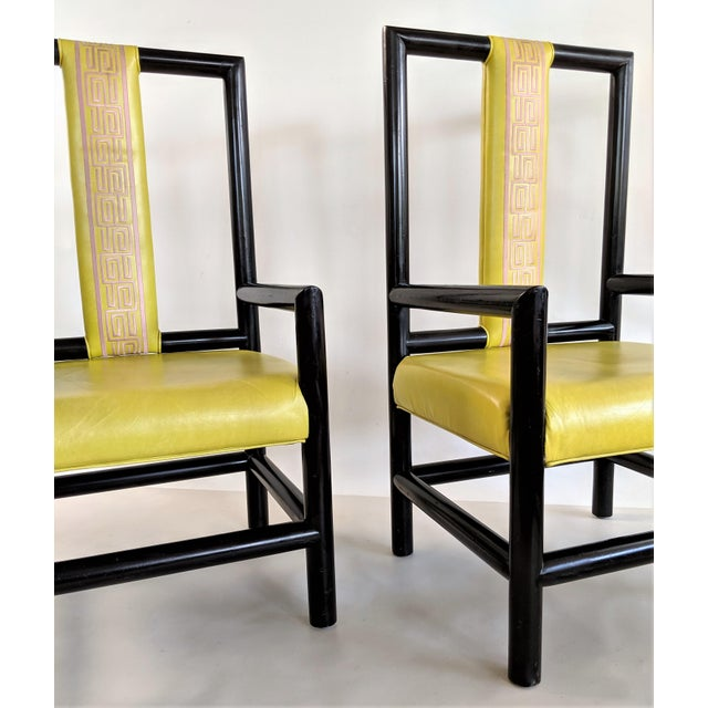 1980s Vintage Kelly Wearstler for the Viceroy Hotel High Back Arm Chairs - a Pair For Sale - Image 10 of 13