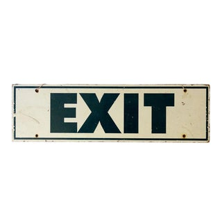 20th Century Americana Hand Painted Wooden Exit Sign For Sale