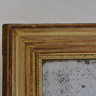 Early 19th Century Antique Rectangular Mercury Glass Mirror Red and Gold Frame Preview