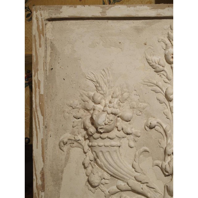 White Plaster Bas Relief Cornucopia Panel From France For Sale - Image 8 of 9