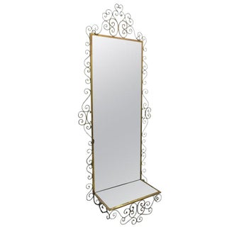 Italian Wrought Iron Mirror with Shelf