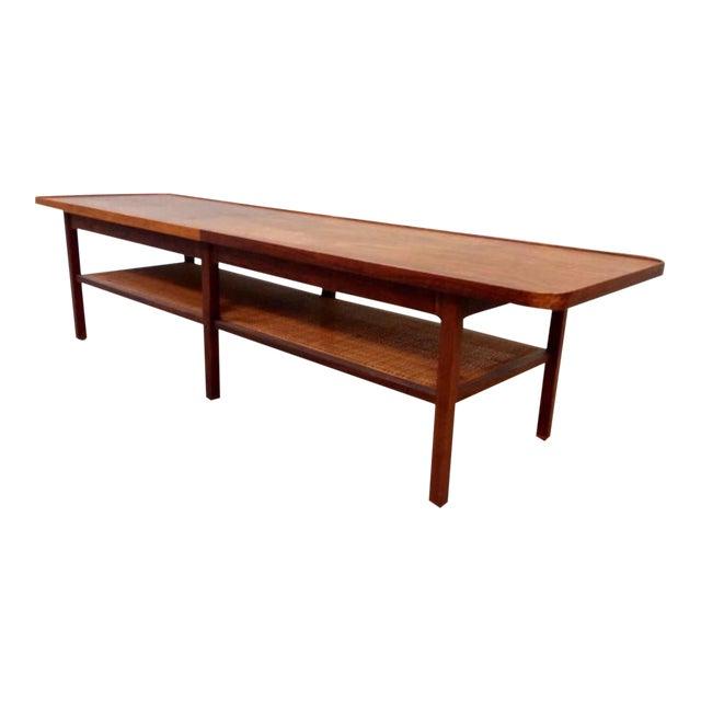 Vintage Walnut Cane Coffee Table Chairish