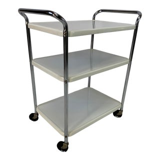 Mid-Century Modern Three-Tier Enameled Metal Serving Cart by Cosco Hamilton For Sale
