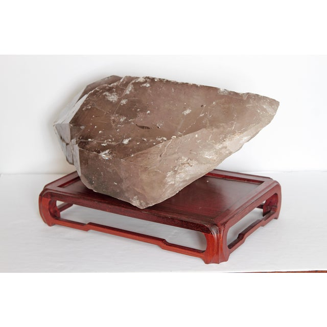 Asian Large Smoky Quartz Crystal and Stand For Sale - Image 3 of 10