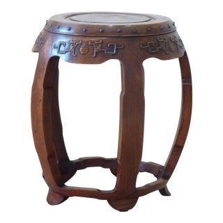 Chinese Hardwood Barrel Stool