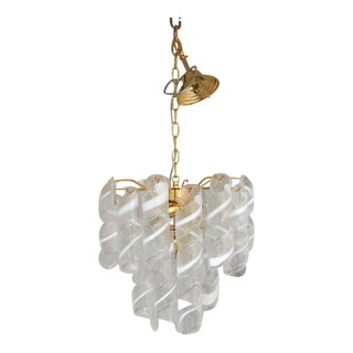"Contemporary Vintage Murano Glass ""Spirale"" Chandelier For Sale"