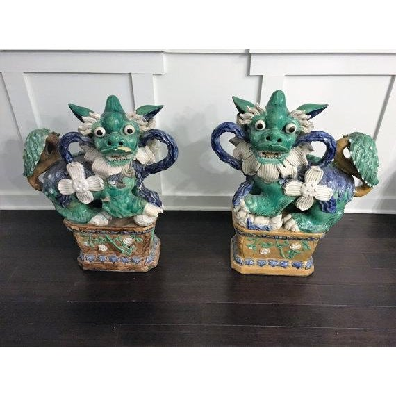Antique Green & Blue Foo Dogs - A Pair - Image 4 of 5
