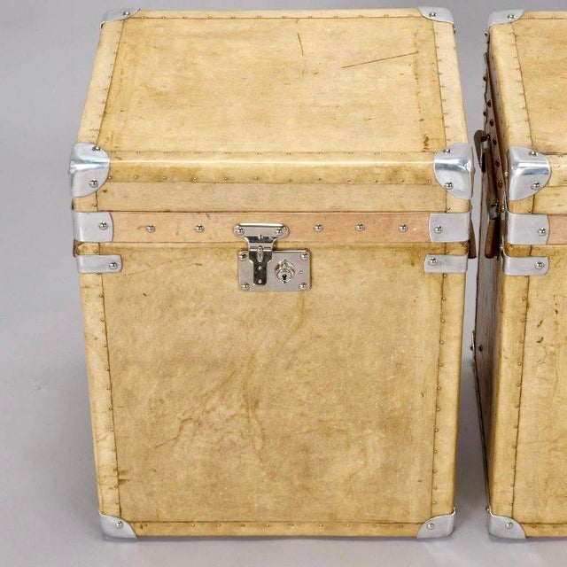 Pair of Reconditioned English Vellum and Chrome Trunks - Image 2 of 9