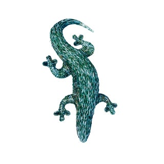 Green Wicker Rattan Lizard Sculpture Wall Hanging For Sale