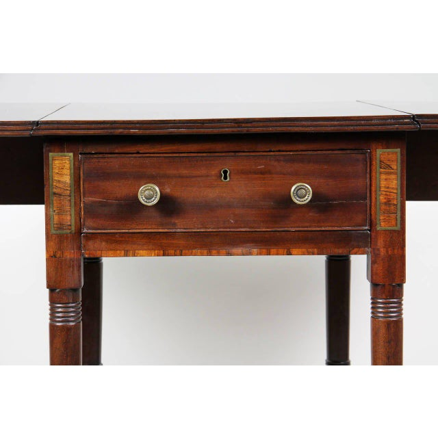 Regency Mahogany And Brass Inlaid Table For Sale - Image 4 of 10