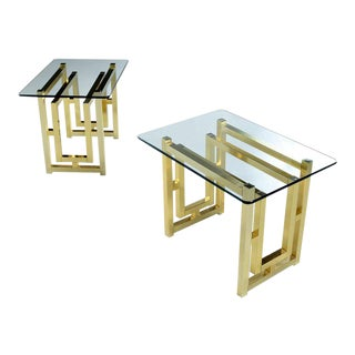 Pair of Hollywood Regency Mid-Century Modern Milo Baughman Gold Brass End Tables For Sale