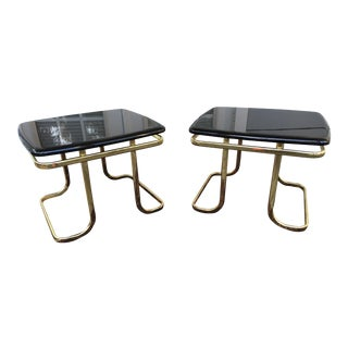 Milo Baughman Style Lacquer & Brass Tables - A Pair