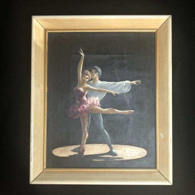 Pink Vintage Oil Painting of Two Classical Ballet Dancers on Stage For Sale - Image 8 of 8
