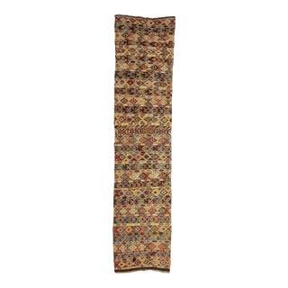 Vintage Embroidered Turkish Kilim Runner For Sale