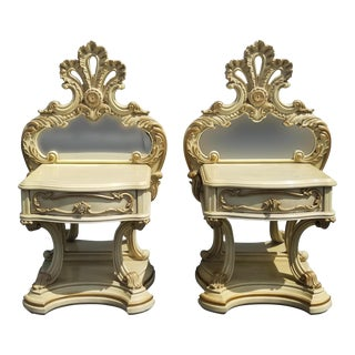 Pair Vintage French Provincial Rococo Louis XV White Gold Scrolled Nightstands For Sale