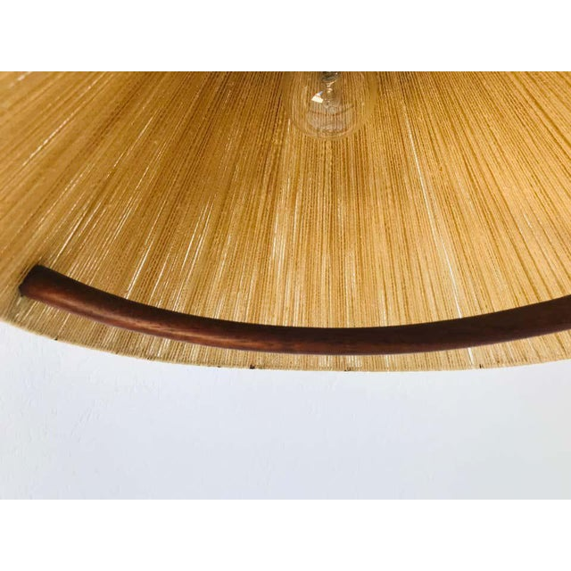 Midcentury Teak and Rattan Hanging Lamp, circa 1970 For Sale - Image 10 of 12
