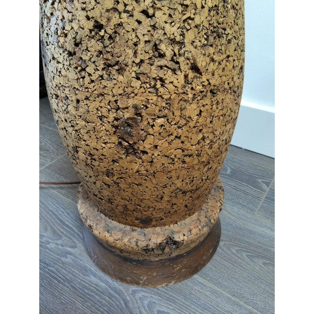 Mid-Century Cork Floor Lamp With Linen Shade For Sale - Image 7 of 9