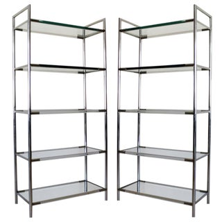 Pair Chrome and Lucite Etageres