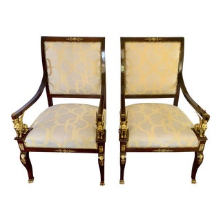 French Empire Armchairs With Ormolu Mounts and New Upholstery, Pair For Sale