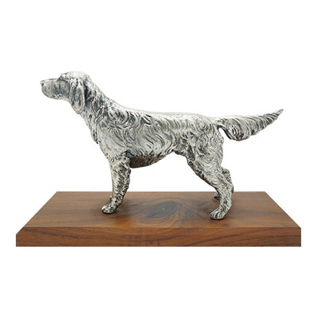Vintage Silverplate Sporting Dog on Wooden Base For Sale