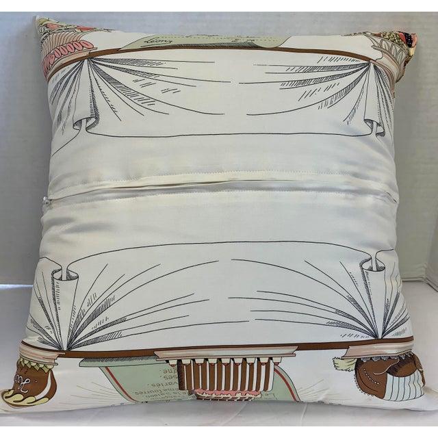"""Antique White Hermès of Paris """"A La Gloire De La Cuisine Française"""" Silk Scarf Pillow For Sale - Image 8 of 12"""