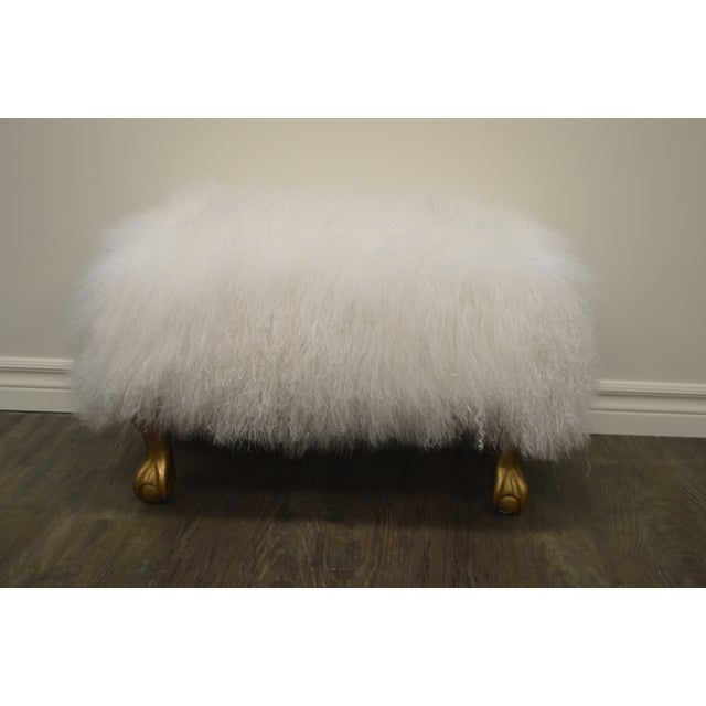 Ottoman Upholstered in a Curly White Lambs Wool Skin With Gilded Legs For Sale - Image 10 of 10
