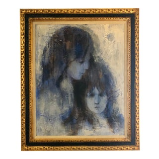1950s Vintage Richard Shepard Mother and Daughter Portrait Painting For Sale