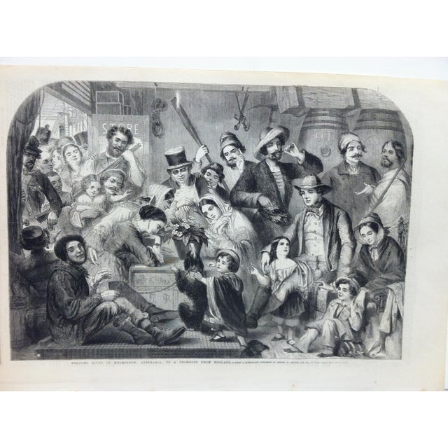 """This is an Antique Original Print from The Illustrated London News that is titled """"Welcome Given in Melbourne Australia to..."""