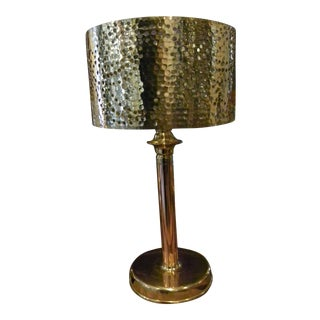 Hand Hammered Copper Palm Tree Openwork Table Lamp For Sale