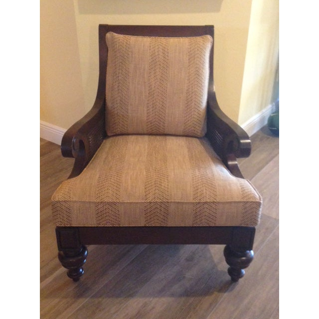 Ethan Allen Rattan & Cherry Wood Accent Chairs - A Pair - Image 2 of 6