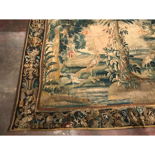Large 18th Century French Aubusson Tapestry with Trees Birds and People - Image 4 of 11