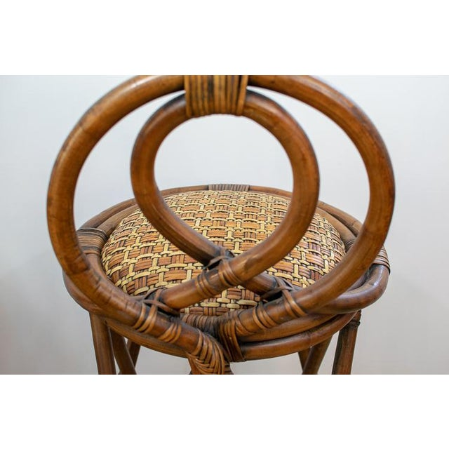 Vintage Mid-Century Twisted Wood Rattan Stools - A Pair For Sale - Image 4 of 10