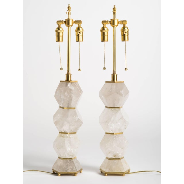 """Metal Classic Rock Crystal Quartz Lamps - """"Eon Collection"""" For Sale - Image 7 of 10"""