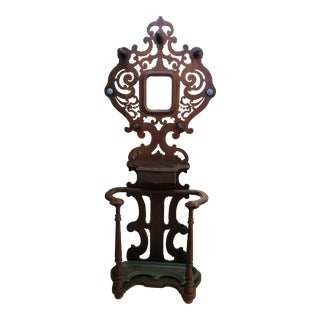 Antique Wood + Metal Hall Tree For Sale