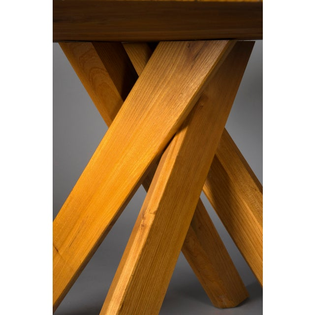 Pierre Chapo Elm Dinig Table and 3 Benches For Sale - Image 6 of 10