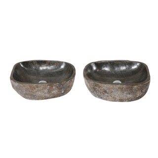 Natural Handcrafted River Rock Sinks-A Pair For Sale