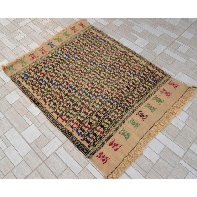 "Vintage Braided Kilim Rug Turkish Hand Woven WoolRug Sofreh - 3' X 3'10"" For Sale - Image 9 of 9"