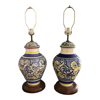 1970s Large Hand Painted Italian Majolica Lamps - a Pair For Sale