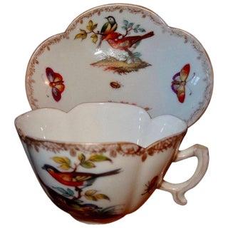 19th Century Meissen Porcelain Cup & Saucer - a Pair