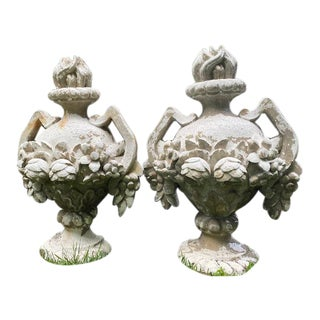 Cast Cement Garden Ornaments - a Pair For Sale