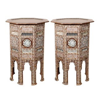 Syrian Antique Mother-Of-Pearl Inlay Pedestal Tables For Sale